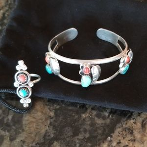 Sterling Turquoise and Coral bracelet and ring set